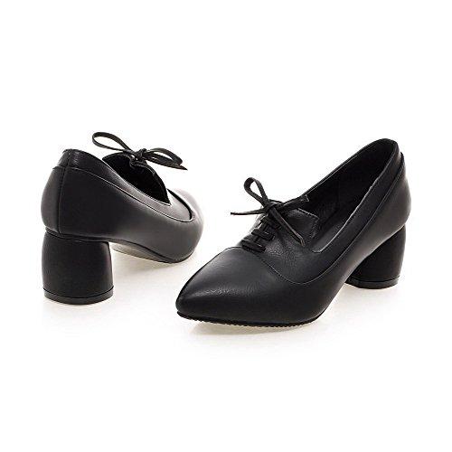 AgooLar Damen Mittler Absatz Weiches Material Rein Schnüren Spitz Zehe Pumps Schuhe Schwarz