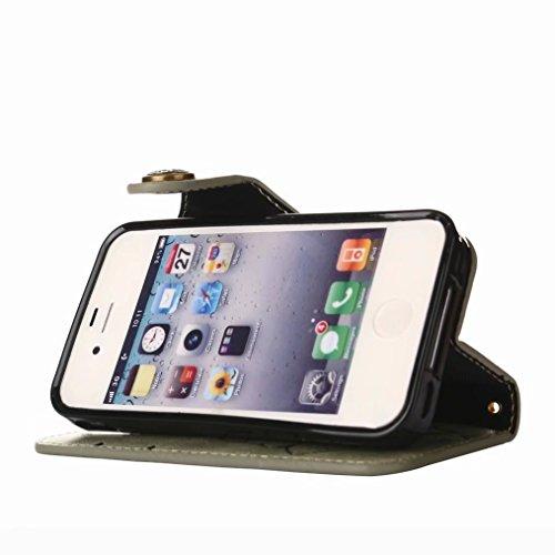 LEMORRY Apple iPhone 4 4s Custodia Pelle Portafoglio Guardare-Supporto Morbido interno TPU Silicone Bumper Protettivo Magnetico Slot per schede Cuoio Borsa Flip Cover per iPhone 4s, Retro Rosa (Marron Erba verde