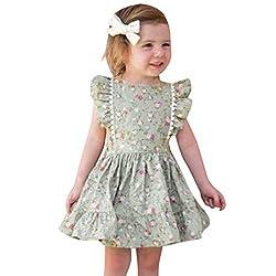 Fenverk MäDchen T-Shirt GroßE Schwester Sterne Bruder Geburt Baby Kleinkind Kinder VerfüGbar äRmellose RüSchen Blumendruck RüCkenfreies Kleid Kleidung(Grün-01,2-3 Jahre)