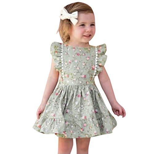 hirt GroßE Schwester Sterne Bruder Geburt Baby Kleinkind Kinder VerfüGbar äRmellose RüSchen Blumendruck RüCkenfreies Kleid Kleidung(Grün-01,12-18 Monate) ()