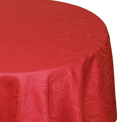 Nappe ovale 180x300 cm Jacquard 100% coton SPIRALE rouge