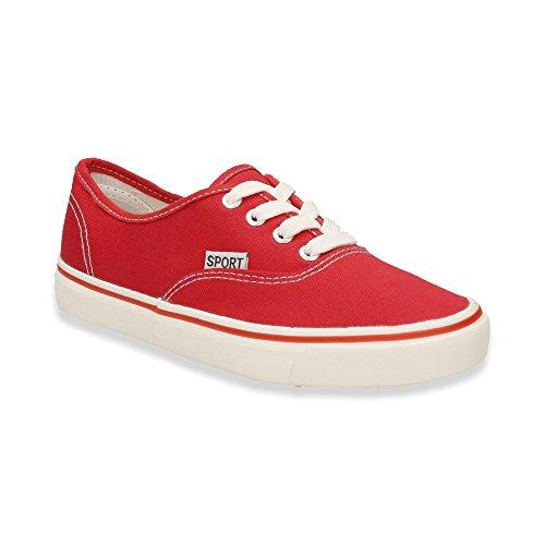 Herren Damen Sneaker Sportschuhe Lauf Freizeit Fitness Canvas Low Unisex Schuhe Rot/Damen