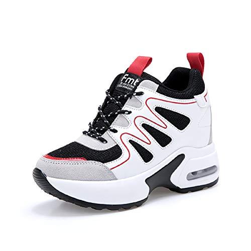 AONEGOLD Sneakers Zeppa Donna Scarpe da Ginnastica Sportive Fitness Scarpe  con Zeppa Interna Tacco 7 cm b4d018e2d3e
