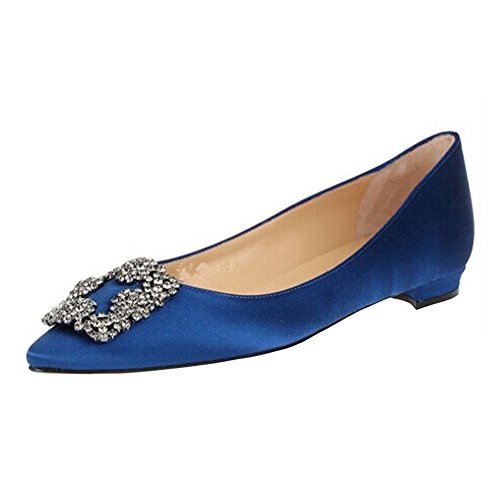 EKS Damen Spitze Diamonds Decoration Low Heel Fashion Flats Blau