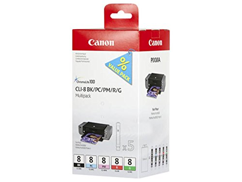Canon Pixma Pro 9000 Mark II (CLI-8 / 0620 B 027) - original - Tintenpatrone MultiPack (schwarz, Foto-cyan, Foto-magenta, rot, gr?n) (Canon Pro 9000 Ii Tinte)