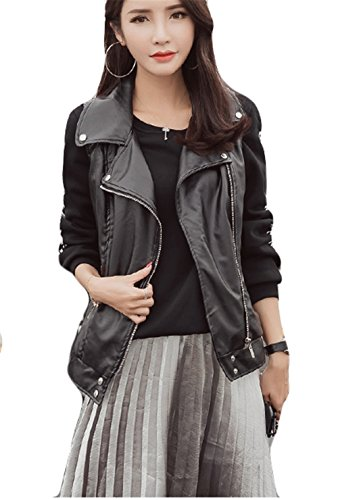 Damen Frauen Sleeveless Revers Zip Up Motorrad Faux PU Leder Jacke Oberbekleidung Weste Schwarz