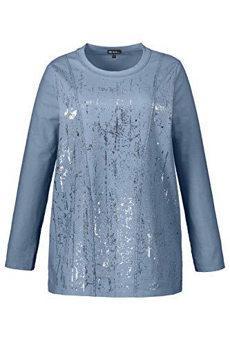 Ulla Popken Damen große Größen Sweatshirt nebelblau III 721178 73-III -