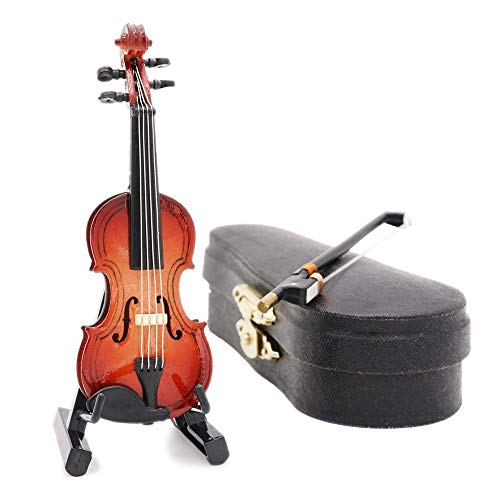 Odoria 1/12 Miniatur Geige mit Bogen Ständer und Koffer Für Musikinstrument Puppenhaus Dekoration Zubehör