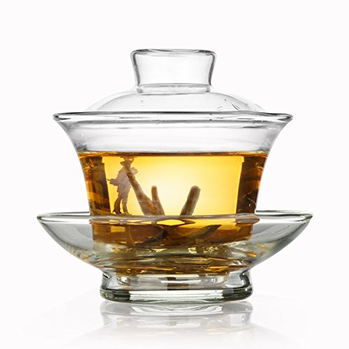 Tea Repertoire Chinese Gongfu Glass Gaiwan Teapot (100ML /3.5 Oz) | Pure Handmade Heat-Resistant Glass Cup, Lid, Saucer | Traditional Gong Fu Cha Tea Pot Set