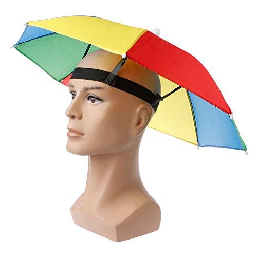 GROOMY Faltbare Headwear Sun Regen Regenschirm Hüte Hände frei für Angeln Wandern Strand
