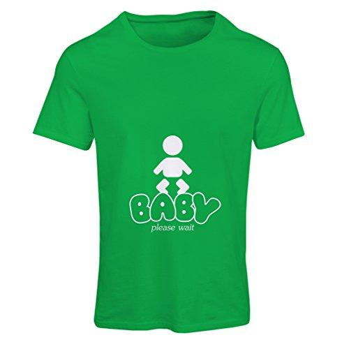 Frauen T-Shirt Baby Loading - lustige Mutterschaft Shirts mit Sprüche (X-Large Grün Weiß)
