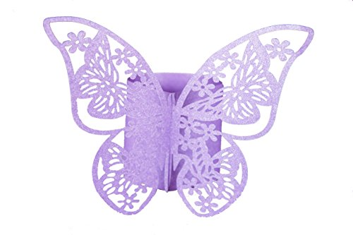 Elfenstall Servietten-Ringe in Farbe lila aus Papier für ihren festlichen Anlass 12 Stück