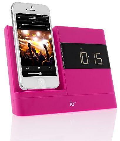 KitSound XDOCK2 Radio Uhr Dockingstation/Ladegerät mit Lightning Anschluss für iPhone 5/5S/5C/SE, iPod Nano 7. Generation and iPod Touch 5. Generation (UK Netzstecker) - Pink