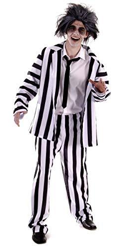 Beetlejuice Männer Kostüm - Erwachsenen Männer lustig, 80er Film, verrückte Geist Anzug Kostüm. Eine Größe Kostüm, aber in der Regel passt Männer klein, mittel oder groß. Perfekt für einen Junggesellenabschied oder Halloween