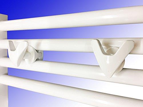 Handtuchhalter VIP Handtuchhaken für Badheizkörper Weiß 2´er Packung