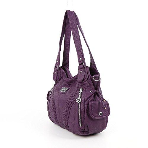 Angelkiss 2 Top Cerniere di chiusura tasche multiple borse di cuoio borse borse a tracolla Lavato 1555 Viola