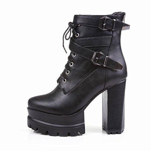 Mee Shoes Damen mit Schnürsenkel Plateau kurzschaft high heels Boots Schwarz