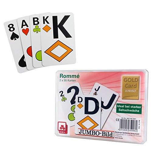 06519910601 - Nürnberger Spielkarten - Doppelrommé im Klarsichtetui, Jumbo Bild - angelehnt an französisches Bild (Sehbehinderte Spielen Karten)