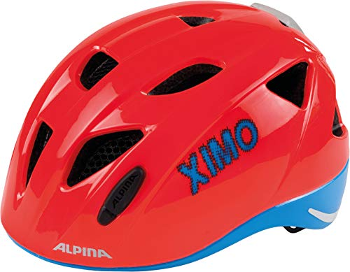 ALPINA Kinder Ximo Flash Fahrradhelm, neon-red-Blue, 45-49 cm
