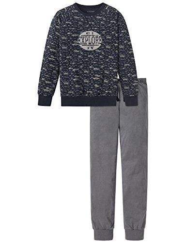 Schiesser Jungen Anzug lang Zweiteiliger Schlafanzug, Grau (Anthrazit 203), 140 (Herstellergröße: XS)
