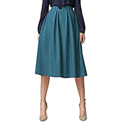 Urban GoCo Mujeres Vintage Falda Midi Plisada A-Line con Bolsillos Faldas Larga Azul Acero M