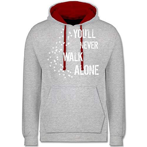ou'll Never Walk Alone Gassi - XS - Grau meliert/Rot - JH003 - Kontrast Hoodie ()