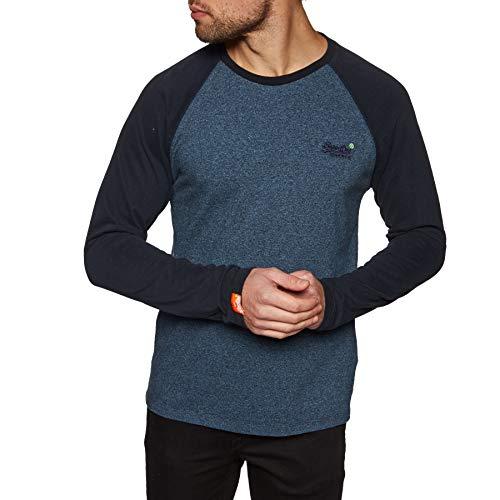 Superdry Orange Label Baseball Long Sleeve T-Shirt Large Woodland Blue Grit - Long Sleeve Baseball Shirt