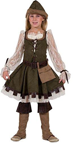 Karneval-Klamotten Robin Hood Kostüm Kinder Mädchen grün-braun-Creme Lady Marian Kinder-Kostüm inkl. Hut Größe 128