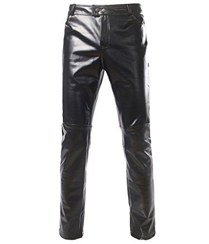 Choose Men's Glänzend Disco Kleid Hose Fashion Metallic Jeans XL Schwarz
