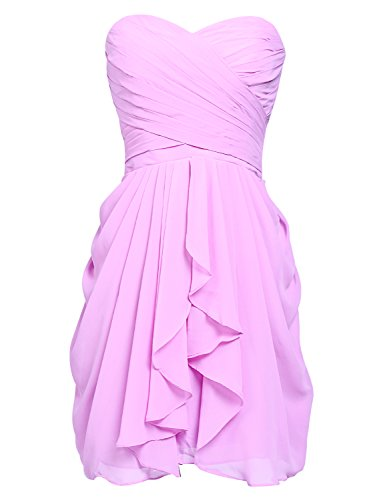 Sarahbridal Damen Mini Chiffon Ballkleid Herzenform Abendkleider Faltenrock Abschlussballkleider SSD247 Sakura Rosa EU40