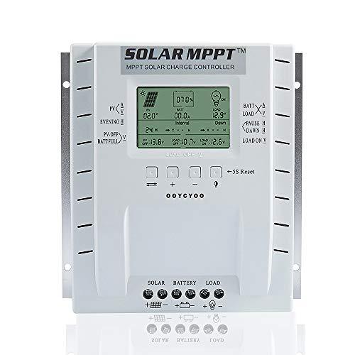 OOYCYOO 60A MPPT Laderegler 60 amp Solarpanel Laderegler 12 V/24 V Auto, Solarregler mit USB-Port Display für AGM-Gel versiegelte Batterie mit und Lithiumbatterie