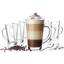 6 Latte Macchiato Gläser 300 ml mit Henkel und 6 Edelstahl-Löffeln (gratis)