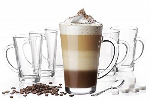 6 Latte Macchiato Gläser 300ml mit Henkel und 6 Edelstahl-Löffeln (gratis) Macchiato-set