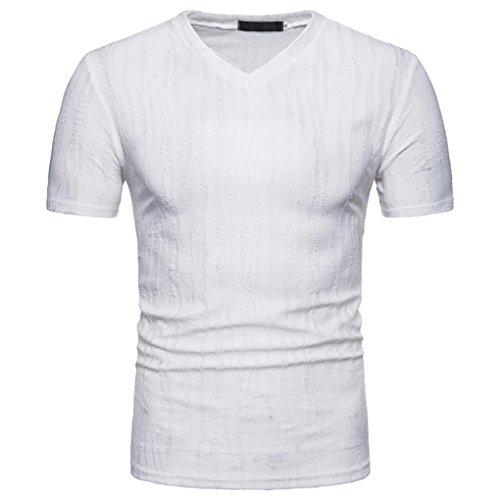HUIHUI Oversize Herren T-Shirt Solid Kurzarm Blouse Herren Slim Fit Baumwolle V-Ausschnitt Coole Strassenbande Pullover Trainings Sport Sweatshirt (S, Weiß) (Hollister Pullover Weiß)
