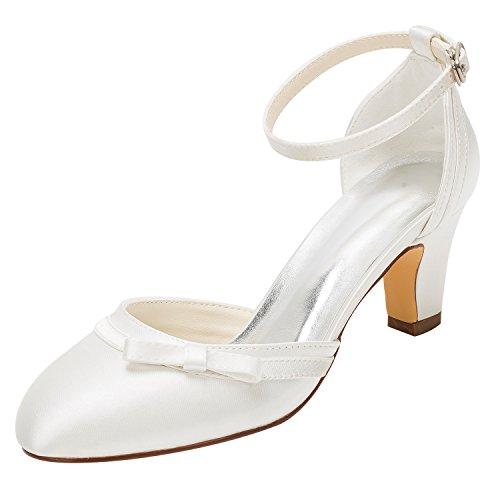 Emily Bridal Brautschuhe Elfenbein Hochzeit Schuhe High Heel Runde Knöchelriemen Bow Brautschuhe (EU39, Elfenbein) Bow Heels