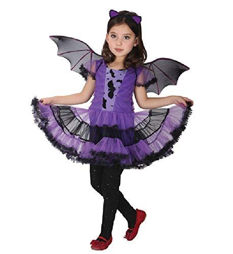 Zygeo - Fancy Maskerade-Party-Schläger Cosplay Kleid Hexe Kleidung Halloween-Kostüm für Kinder Mädchen mit Flügeln Stirnband-Mädchen-Kleider [M]