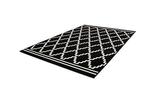 One Couture Rauten Muster Teppich Modern Schwarz Elfenbein 3D Effekt Teppiche, Größe:80cm x 150cm - Schwarz Elfenbein Teppich