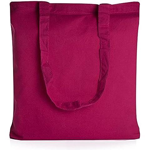 Confezione da 20sacchetti di cotone rosa shocking manici (Biodegradabile Cotone)