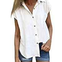 Women Blouses and Shirts ❀ Ladies Short Sleeve Solid T-shirt Blouse Botton Cotton Blouses Shirt Tops