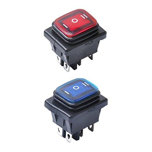 Gazechimp 2 x 30A 6-Pin 3-Position Ein-Aus-Ein Wippschalter mit LED für Fahrzeuge Auto -