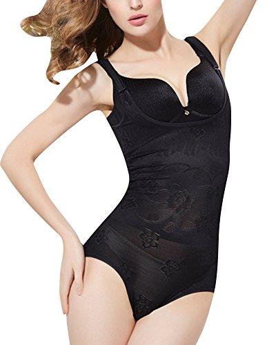 Donna body shaper intimo modellante shapewear bodysuit push up trainer corsetto bustino nero s