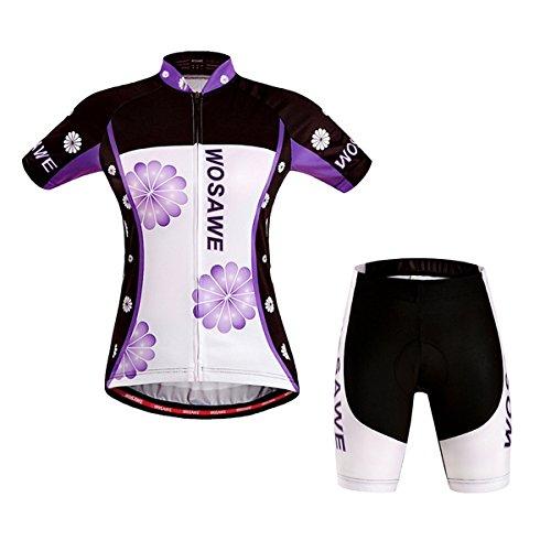 MaMaison007 WOSAWE donna manica corta ciclismo maglia ciclismo Sportwear biciclette bici tuta con Gel Pad - M