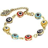 OMZBM Evil Eye Armband Vergoldet Charm Edelstahl Verstellbare Palm Tail Kette Hand Kette Schmuck Für Frauen Und Mädchen