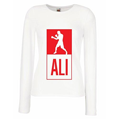 Champ Fitted T-shirt (Weibliche Langen Ärmeln T-Shirt Boxing - in Fight Style Für Training, Sport, Übung, Laufen, Fitness Kleidung (Large Weiß Mehrfarben))