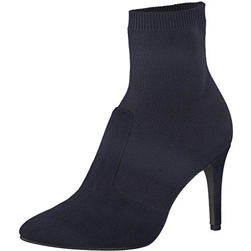 Tamaris Damen Stiefelette 25070-31,Frauen Stiefel,Boot,Halbstiefel,Damenstiefelette,Bootie,hoch,High Heel,Party,Stiletto 9cm,Navy,EU 41 Navy Leder High Heels
