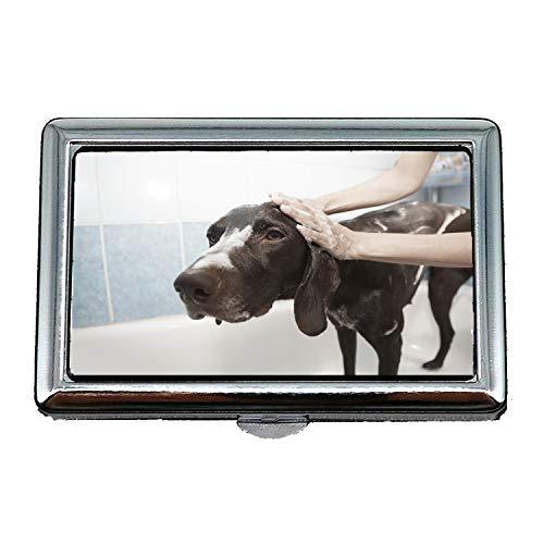 Zigarettenetui/Box, Dog Dusche Grooming sauberes Bad Hundebad, Visitenkartenetui Visitenkartenetui Edelstahl