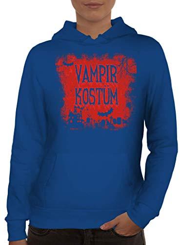 ShirtStreet Halloween Fasching Karneval Gruppen Damen Hoodie Frauen Kapuzenpullover Vampir Kostüm, Größe: L,Royal Blau