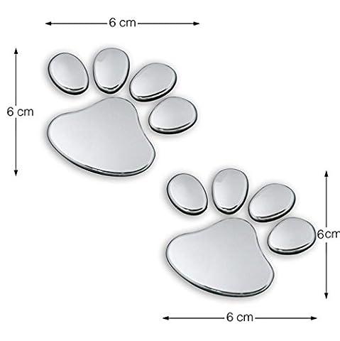 Kolylong® Paw 2PCS Animaux Animaux Footprints Voiture EmblèMe DéCor Truck 3D Sticker Decal
