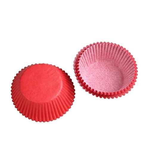 Beiersi Muffinförmchen aus Papier Backförmchen Papier 100 Stück (Rot)