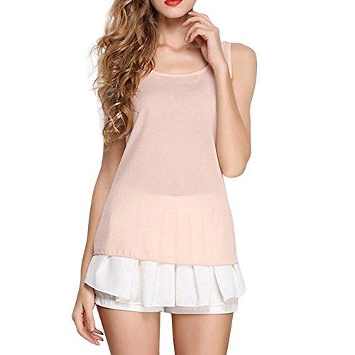 (Feitong Damen T-Shirt Frauen O-Neck ärmellos Reine Farbe Weste Chiffon Tops T-Shirt Bluse(EU-40/CN-XL, Beige))
